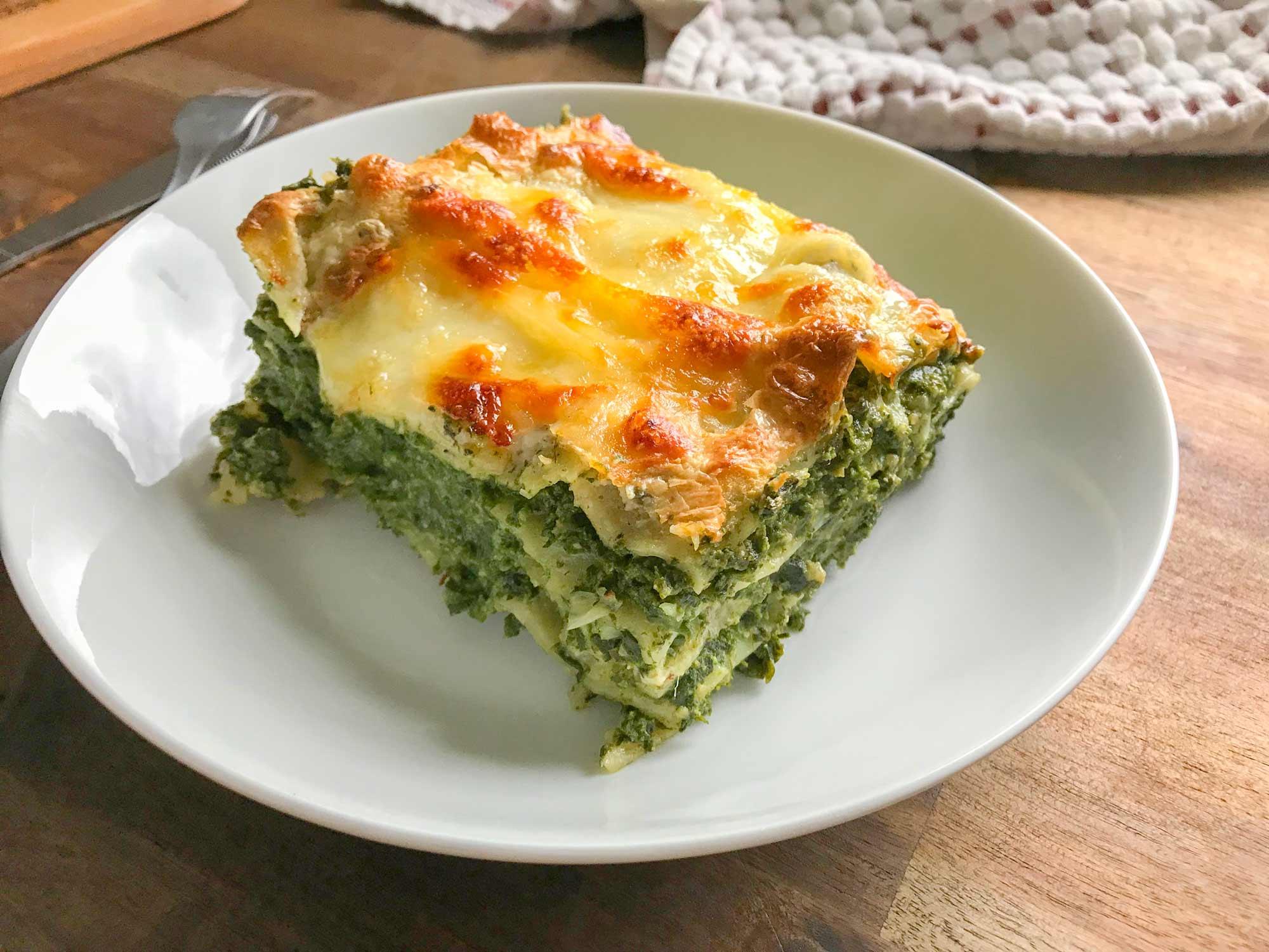 Špinačna lazanja z gorgonzolo