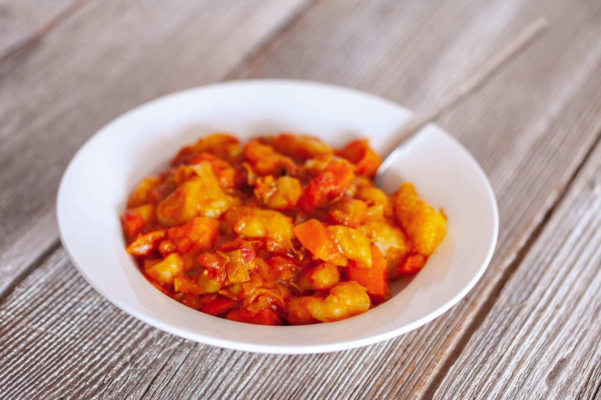 Njoki v paradižnikovi omaki z bučo in gorgonzolo