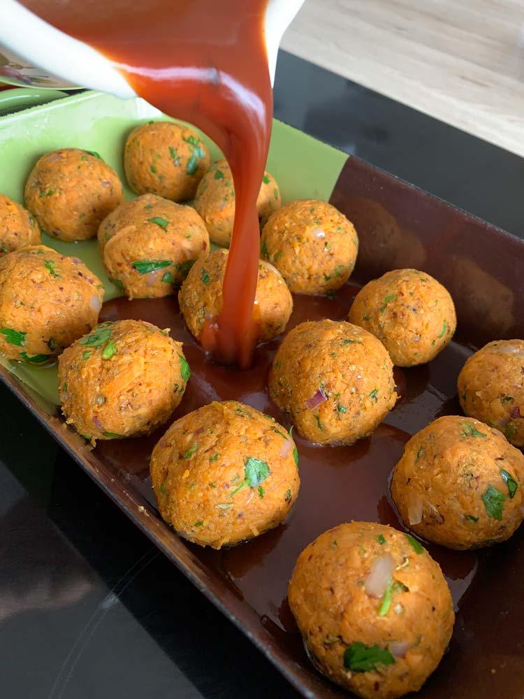 Vegi čufti - kroglice iz sladkega krompirja